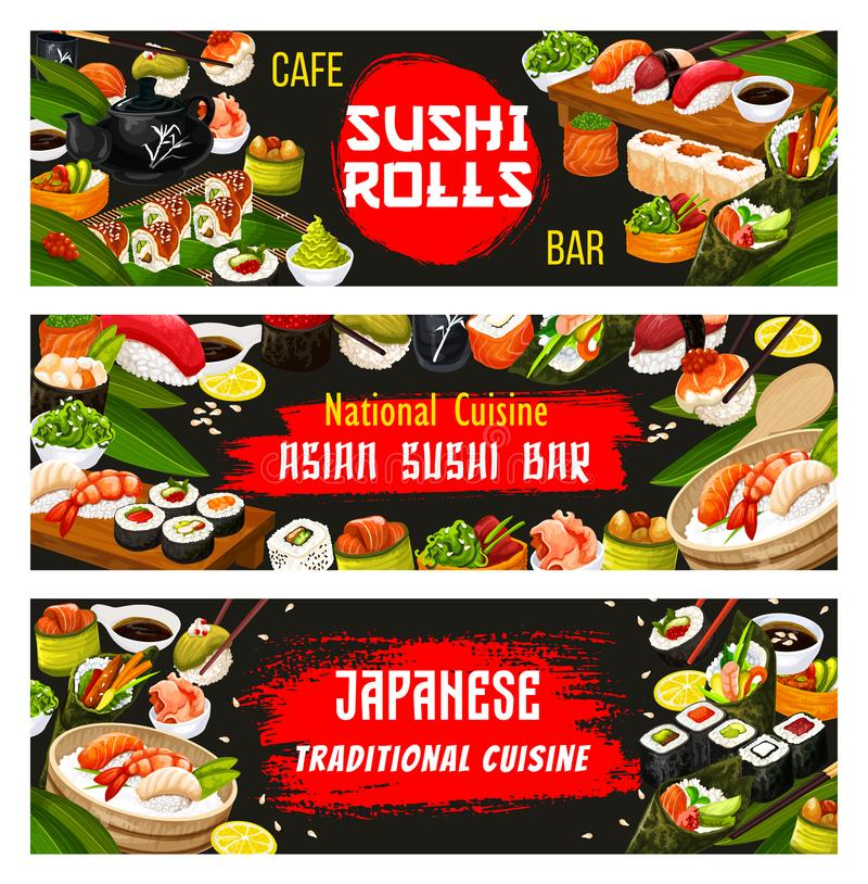 Japanese cuisine and sushi bar vector banners vector illustration
