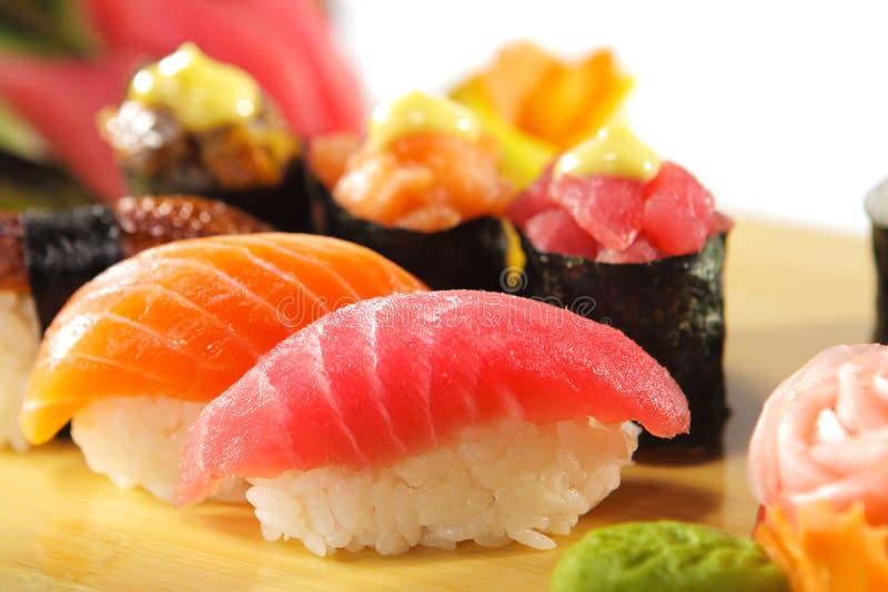 Japanese Cuisine - Sushi Set. Salmon, Conger and Tuna Sushi with Salad Leaf stock images
