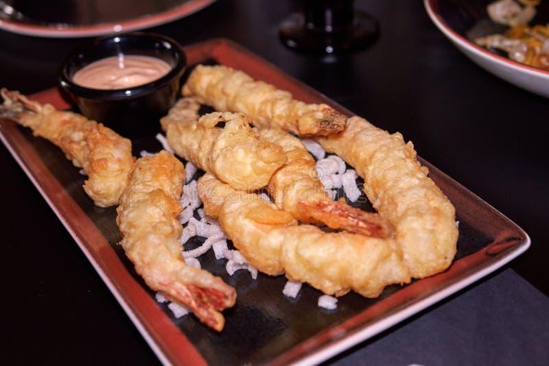 Japanese Cuisine - Tempura Shrimps with sauce stock photos