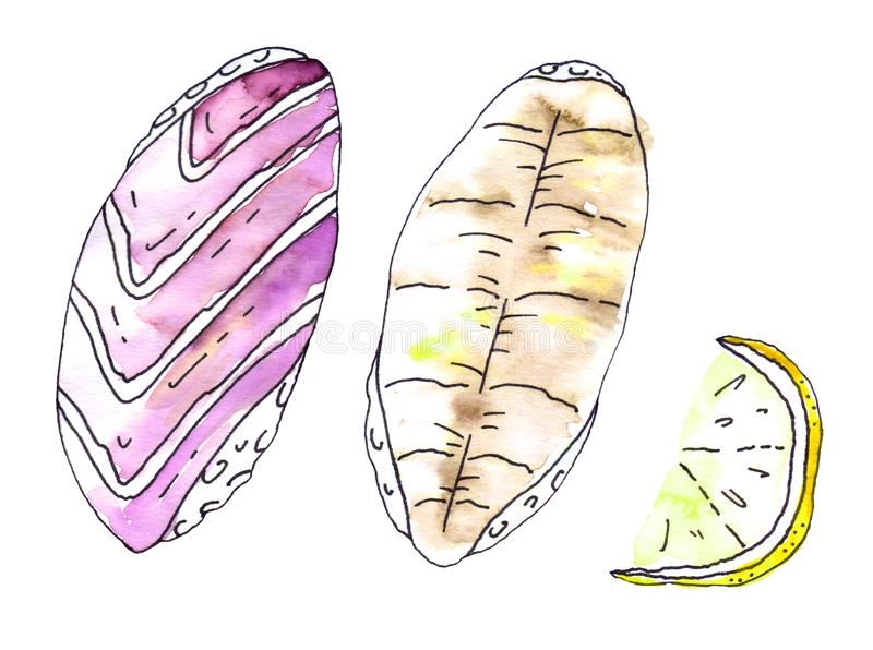 Japanese cuisine: two sashimi with a slice of lemon. Watercolor and line art on a white background stock illustration
