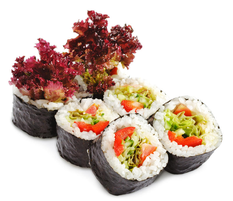 Japanese Cuisine - Vegetarian Sushi. Roll with Salad Leaf stock photography