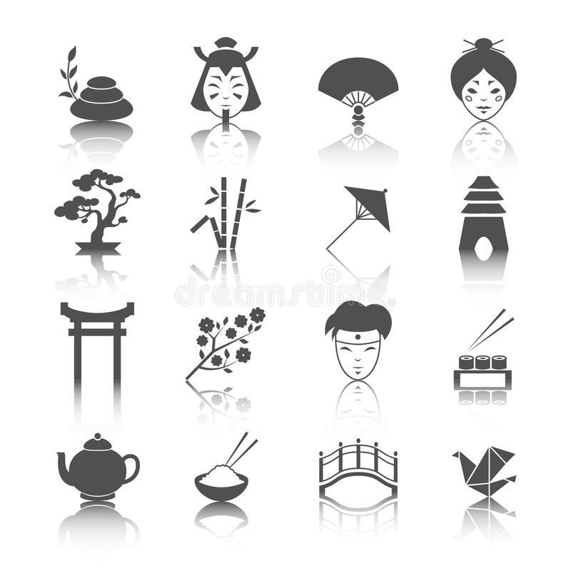 Japanese culture icons set. Of bonsai tree origami sushi and tea ceremony isolated vector illustration stock illustration