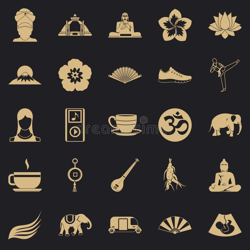 Japanese culture icons set, simple style. Japanese culture icons set. Simple set of 25 japanese culture vector icons for web for any design royalty free illustration