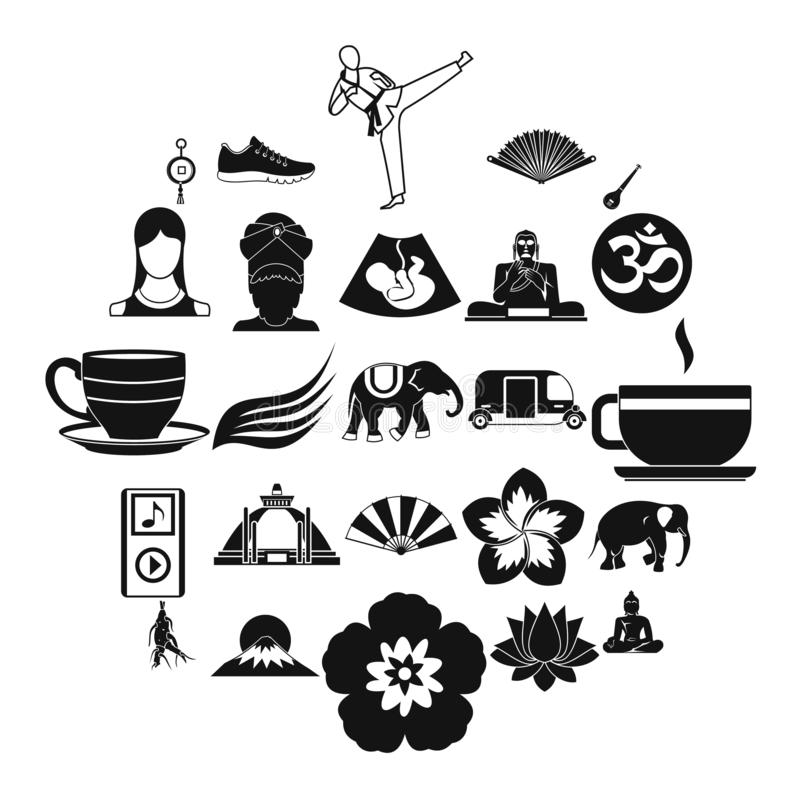 Japanese culture icons set, simple style. Japanese culture icons set. Simple set of 25 japanese culture vector icons for web isolated on white background vector illustration