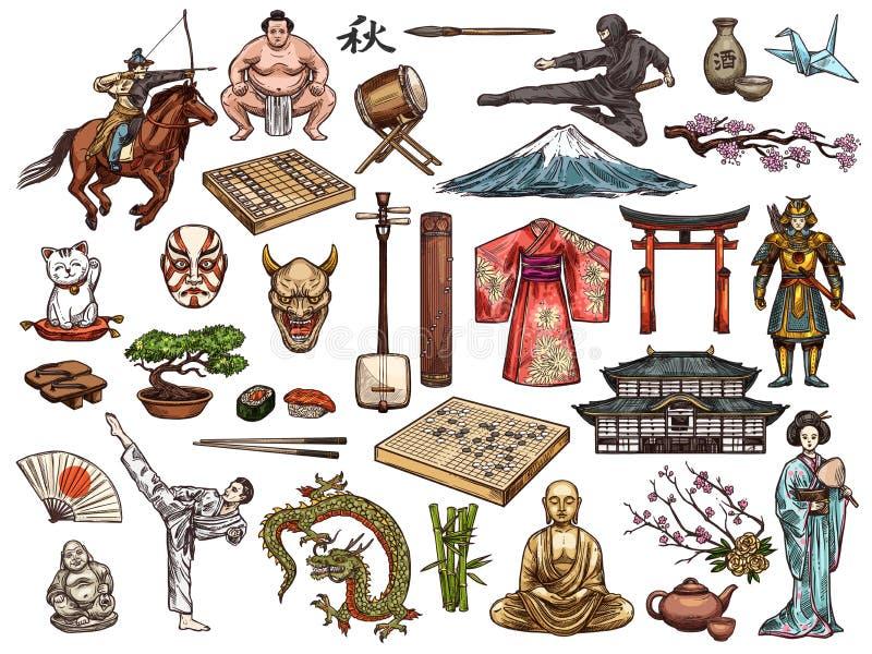 Japanese culture, religion vector symbols vector illustration