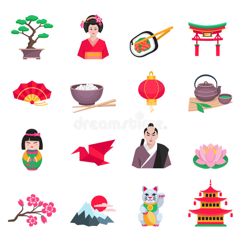 Japanese Culture Symbols Flat Icons Set. Japanese culture flat icons collection with tea ceremony sakura and paper crane symbols abstract isolated vector vector illustration