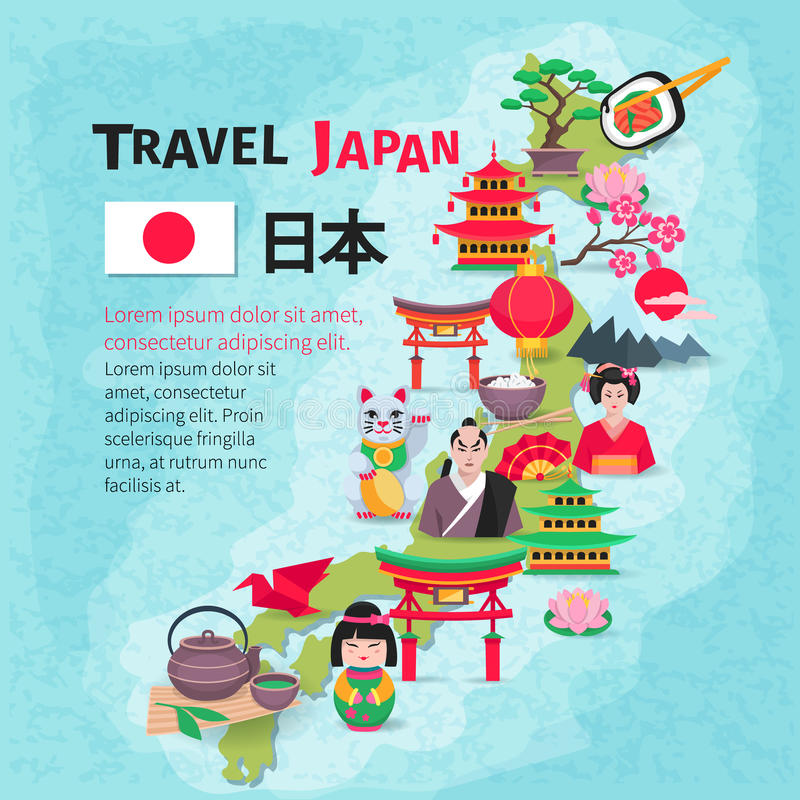 Japanese Culture Travel Map Background Poster stock illustration