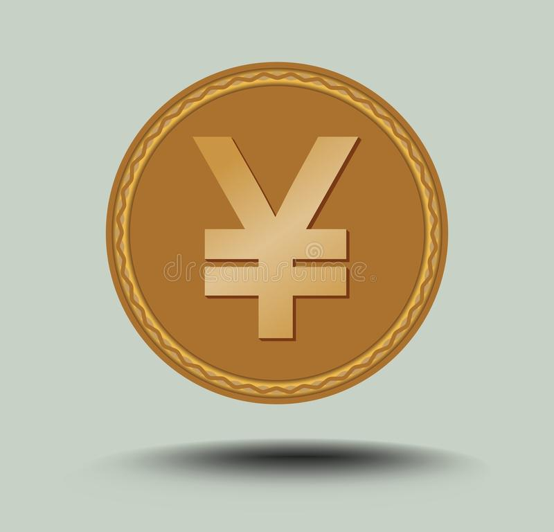 Japanese currency yen symbol. Gold coin with shadow isolated on light gray background royalty free illustration