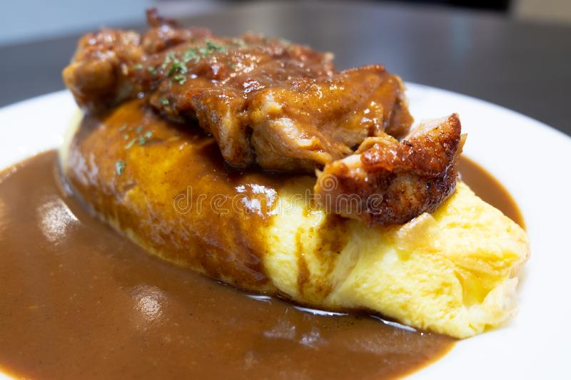 Japanese curry with grilled chicken with omelet and rice royalty free stock photos