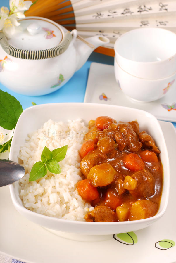Japanese curry rice. With meat,carrot,onion and potato stock image