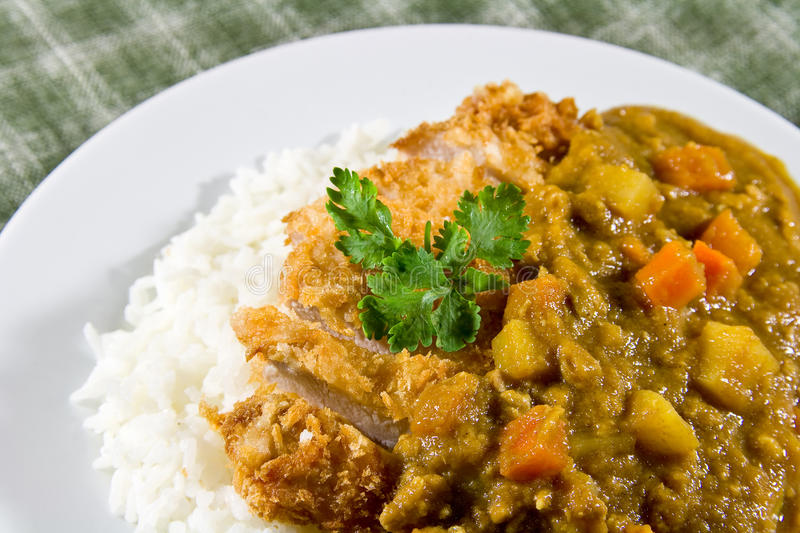 Japanese curry rice. With meat,carrot and potato royalty free stock image