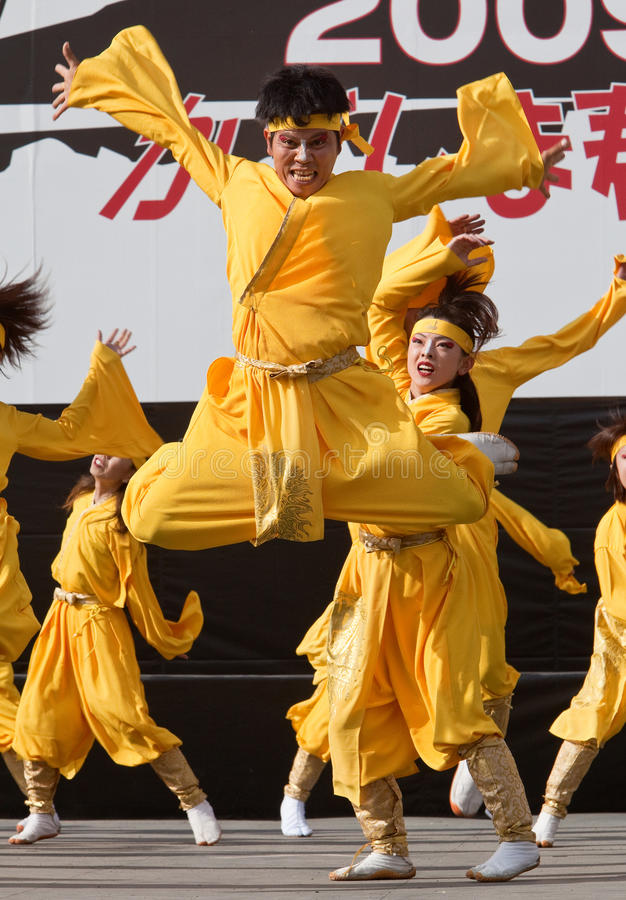 Japanese Daihanya Festival dancers royalty free stock images
