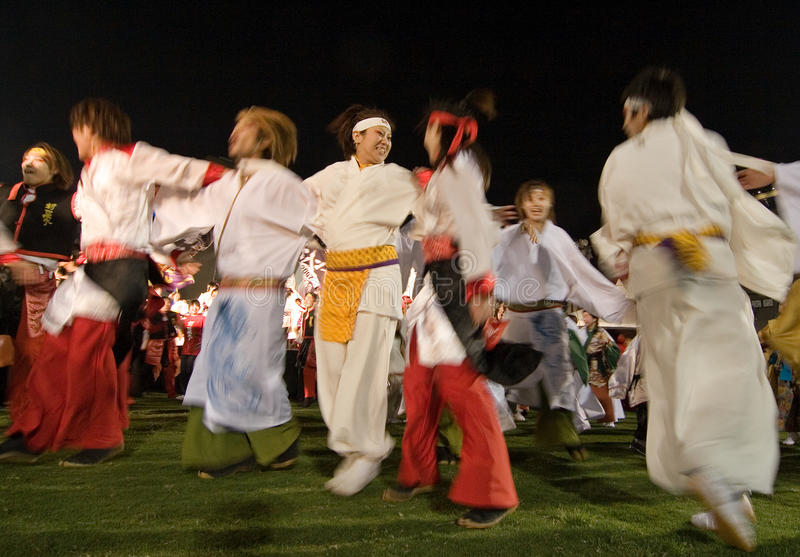 Japanese Daihanya Festival Dancers at night royalty free stock photo
