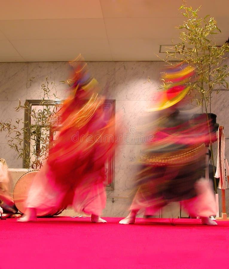 Japanese dancers motion royalty free stock image