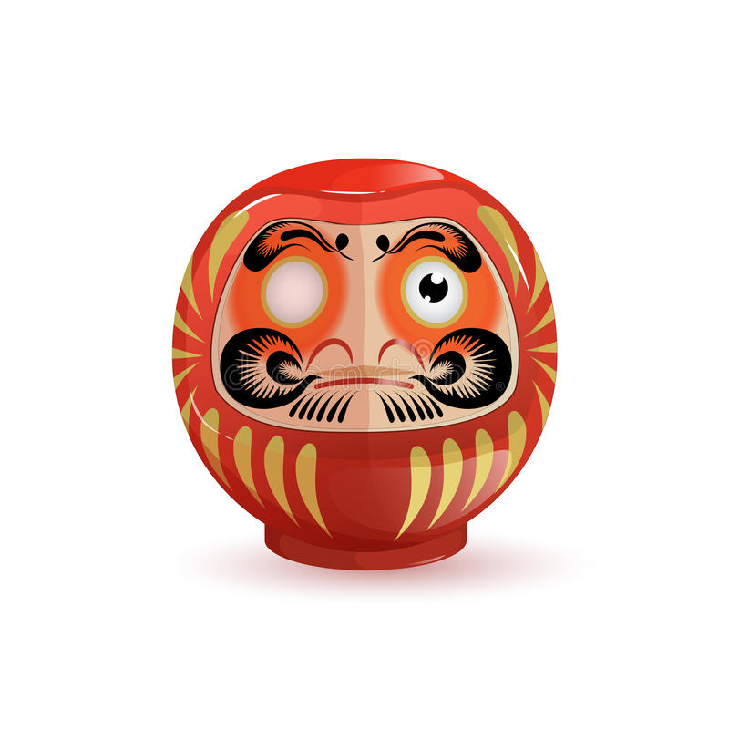 Japanese Daruma doll. Vector illustration on white background. Cartoon style.  royalty free illustration