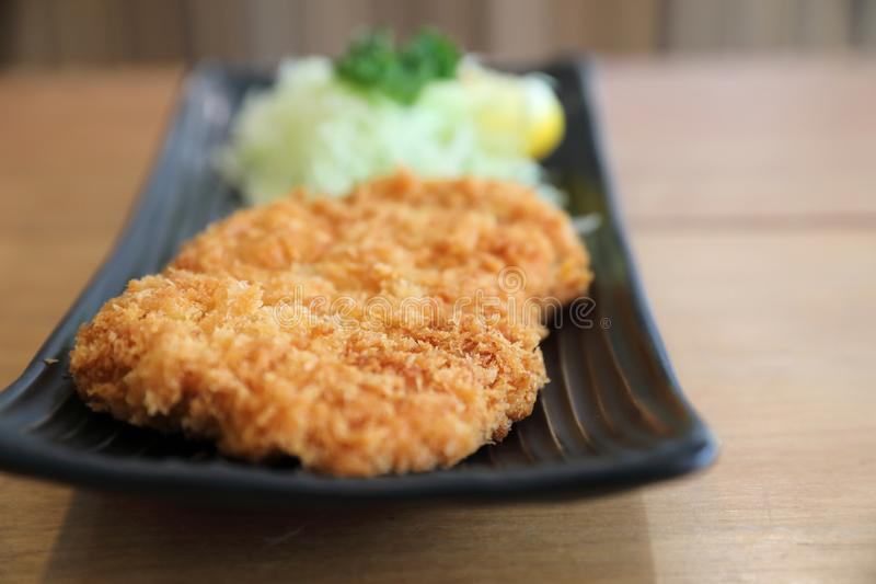 Japanese deep fried pork cutlet, Japanese food. Japanese deep fried pork cutlet in closeup, Japanese food royalty free stock images