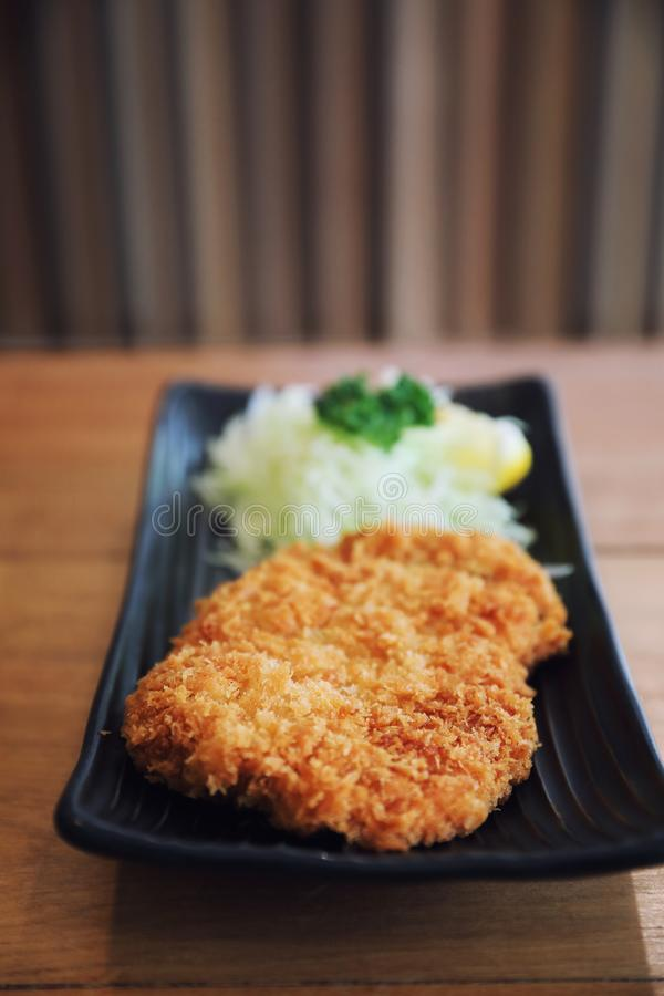 Japanese deep fried pork cutlet, Japanese food. Japanese deep fried pork cutlet in closeup, Japanese food royalty free stock photos
