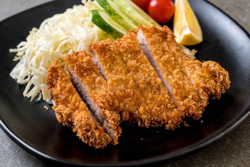 Japanese deep fried pork cutlet (tonkatsu set) royalty free stock photo