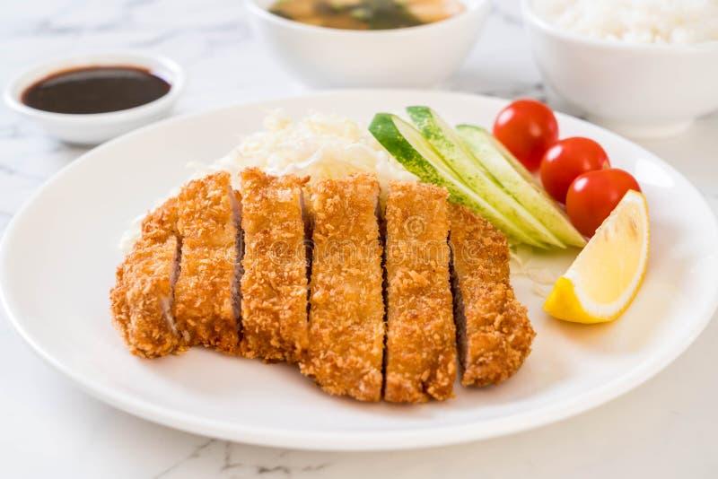 Japanese deep fried pork cutlet (tonkatsu set royalty free stock photo