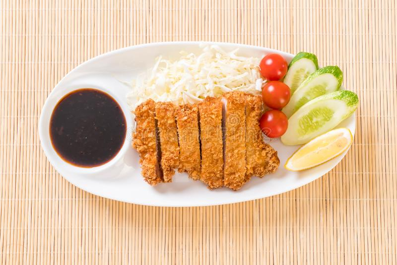 Japanese deep fried pork cutlet (tonkatsu set stock photo