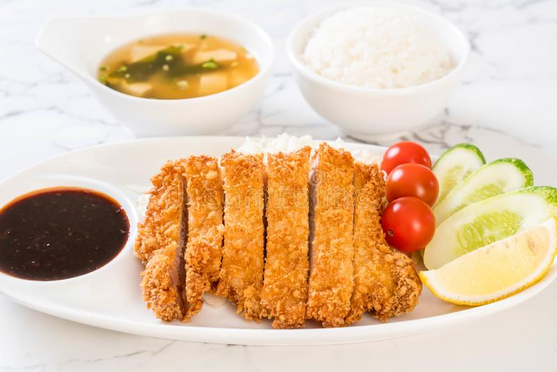 Japanese deep fried pork cutlet (tonkatsu set stock images