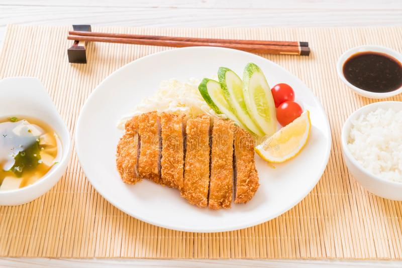 Japanese deep fried pork cutlet (tonkatsu set royalty free stock images