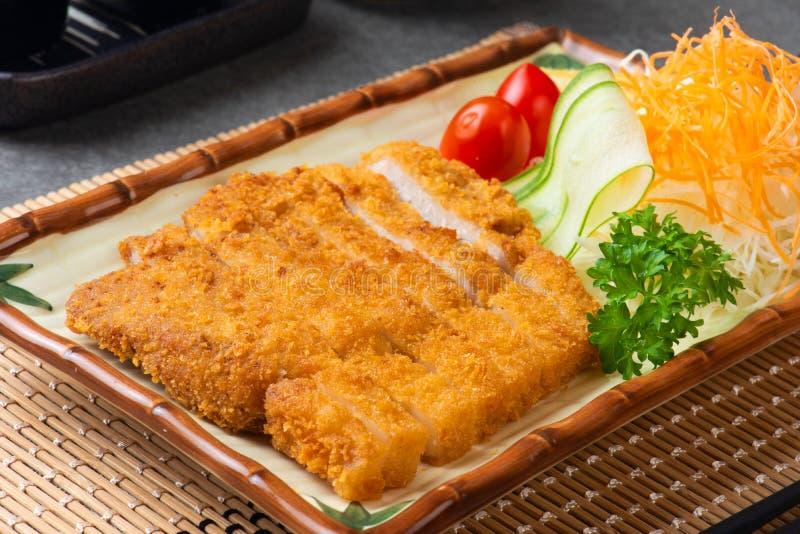 Japanese deep fried pork or tonkatsu set with rice stock photo