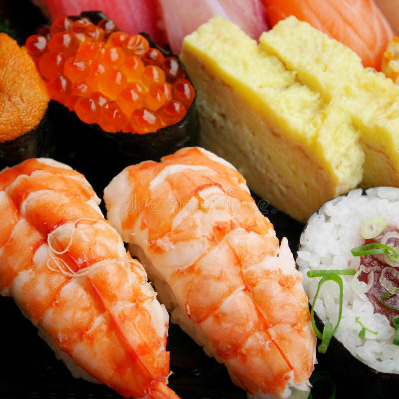 Japanese delicious sushi in the lunch box set stock photography