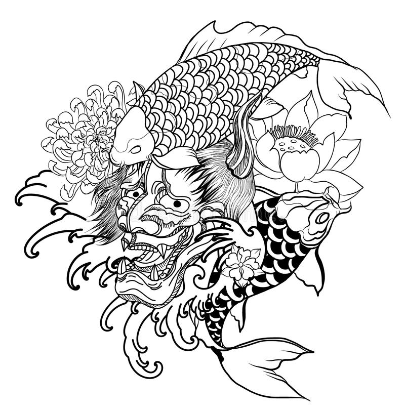 Japanese Demon mask and carp fish tattoo design.hand drawn Oni mask with chrysanthemum flower and koi fish with lotus tattoo. royalty free illustration
