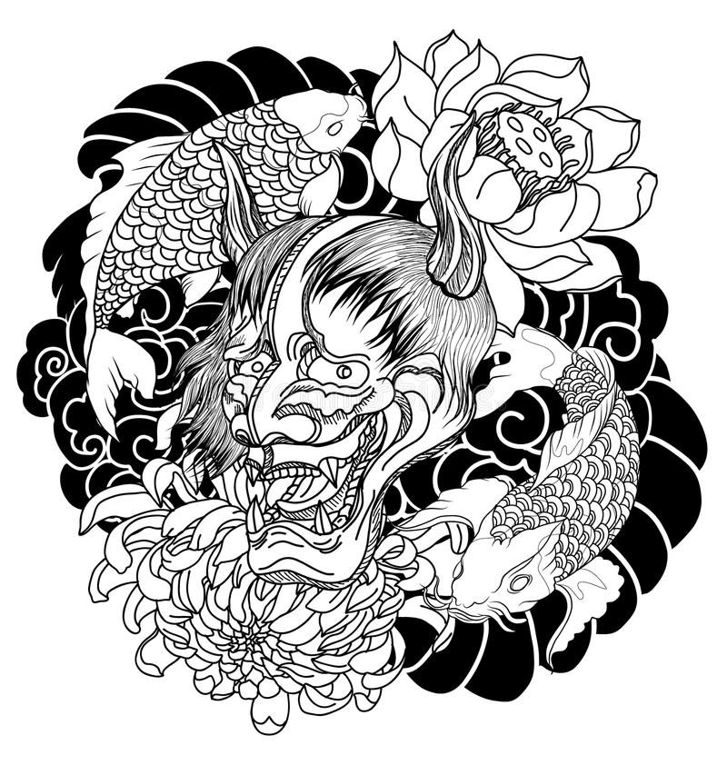 japanese demon mask and carp fish tattoo drawn oni mask with chrysanthemum flower. Black Bedroom Furniture Sets. Home Design Ideas