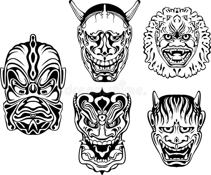 Japanese Demonic Noh Theatrical Masks. Set of black and white vector illustrations royalty free illustration