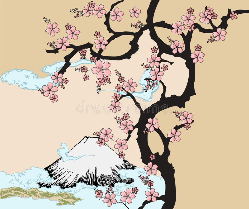 Japanese design with Fuji mountain and Sakua Tree. Design inspired by traditional Japanese art. Fuji mountain and Sakura Tree royalty free illustration