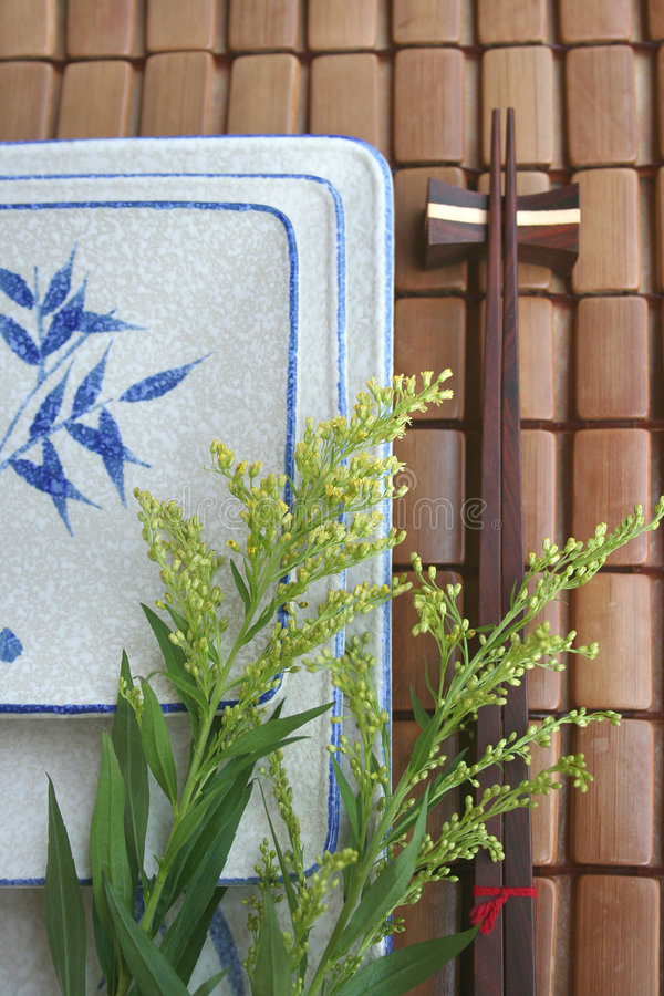 Japanese dish & chopstick on bamboo mat royalty free stock photos