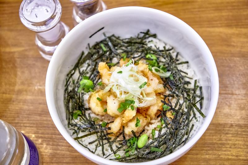Japanese dish Donburi with chicken. Is in a special plate royalty free stock image