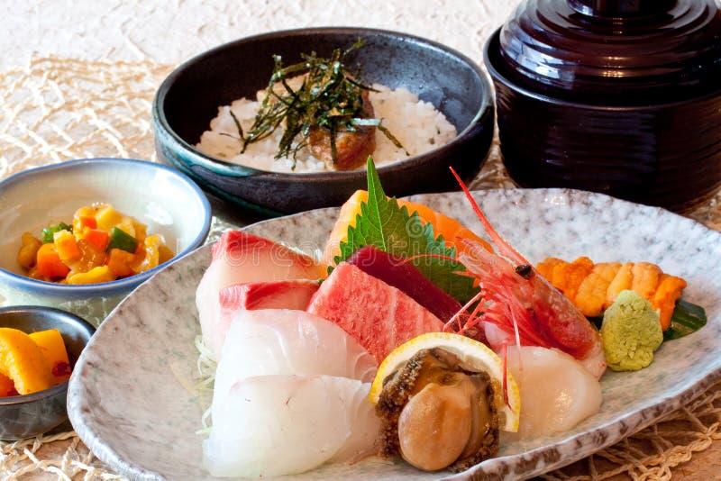 Japanese dishes - sushi & noodle dinning set stock photos