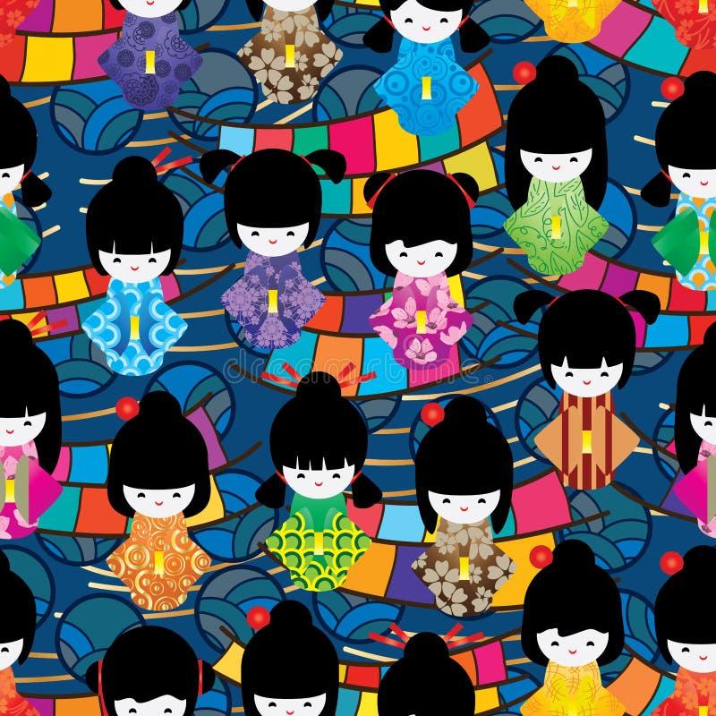 Japanese doll circle line wave seamless pattern royalty free illustration