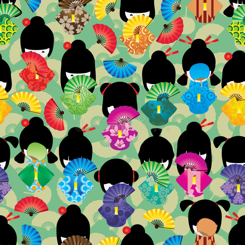 Download Japanese Doll Girl Shy Fan Seamless Pattern Stock Photo - Image of doll, drawing: 71421030