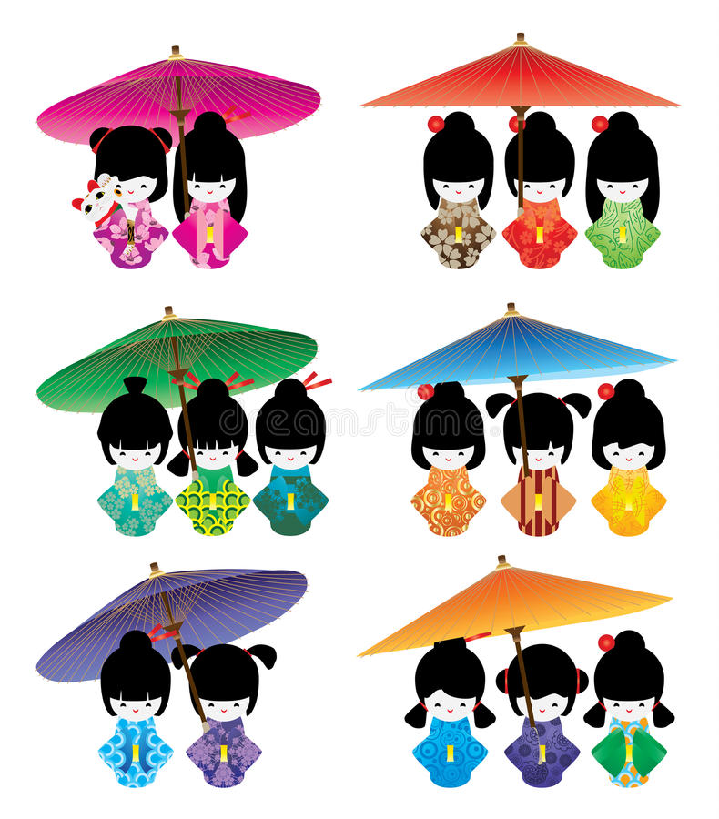 Japanese doll girl umbrella Maneki Neko set stock illustration