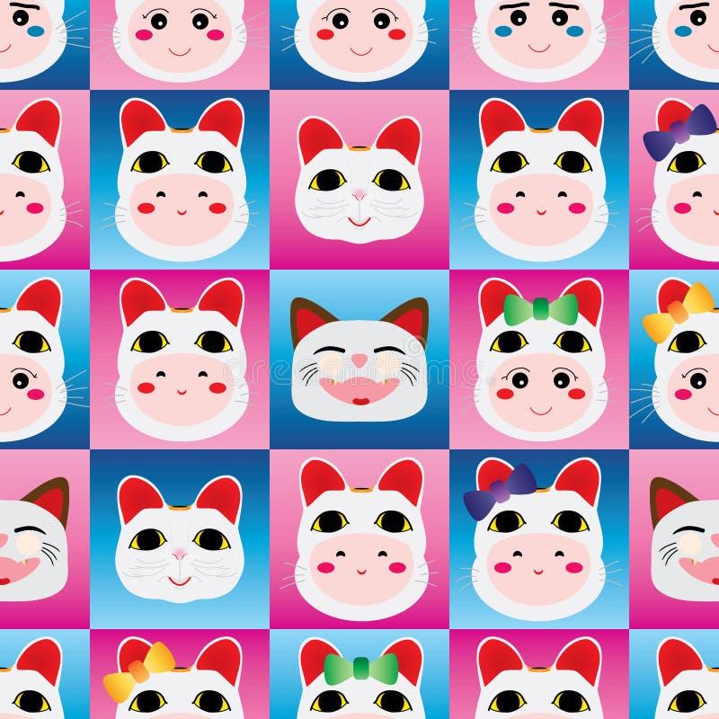 Japanese doll Maneki Neko head seamless pattern stock illustration