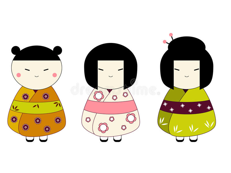 Download Japanese dolls stock vector. Image of girl, asian, background - 11467958