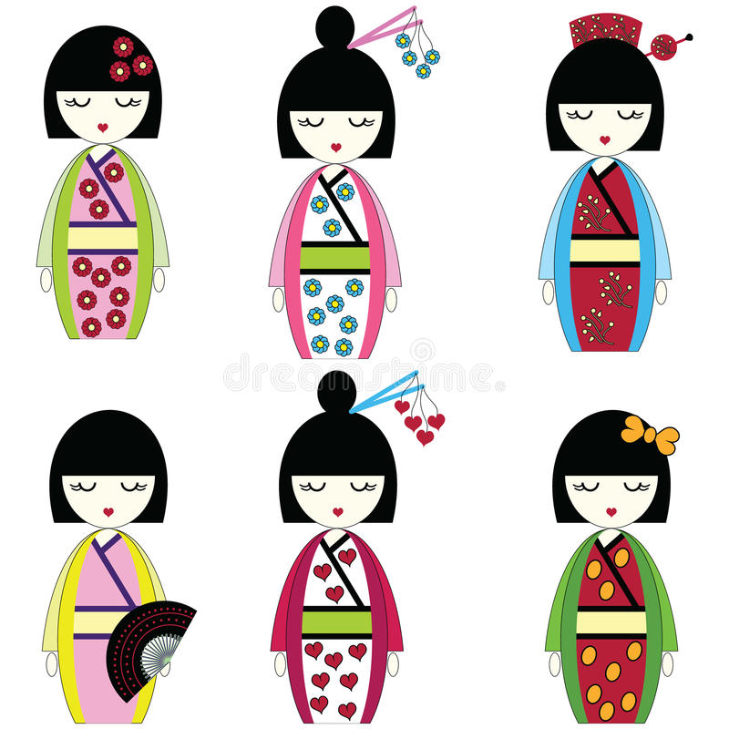 Japanese Dolls Stock Vector Image 51893508