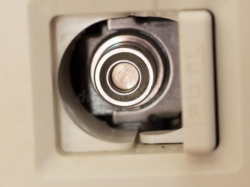 Japanese domestic gas supplying plug. On wall stock photography