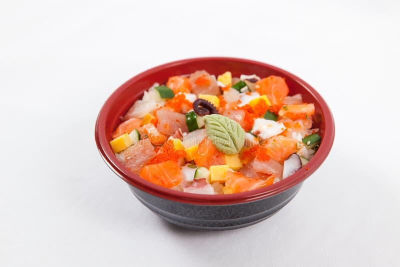 Japanese donburi. Seafood rice meal stock photography