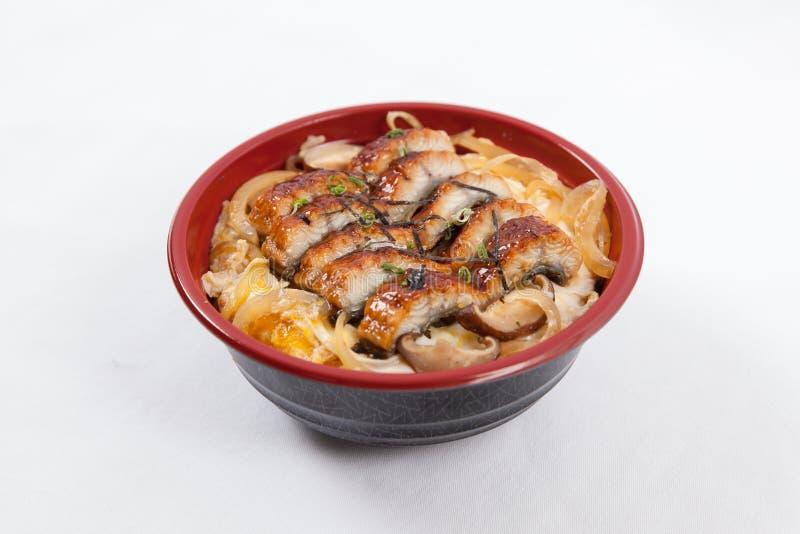 Japanese donburi. Unagi chirashi don royalty free stock image