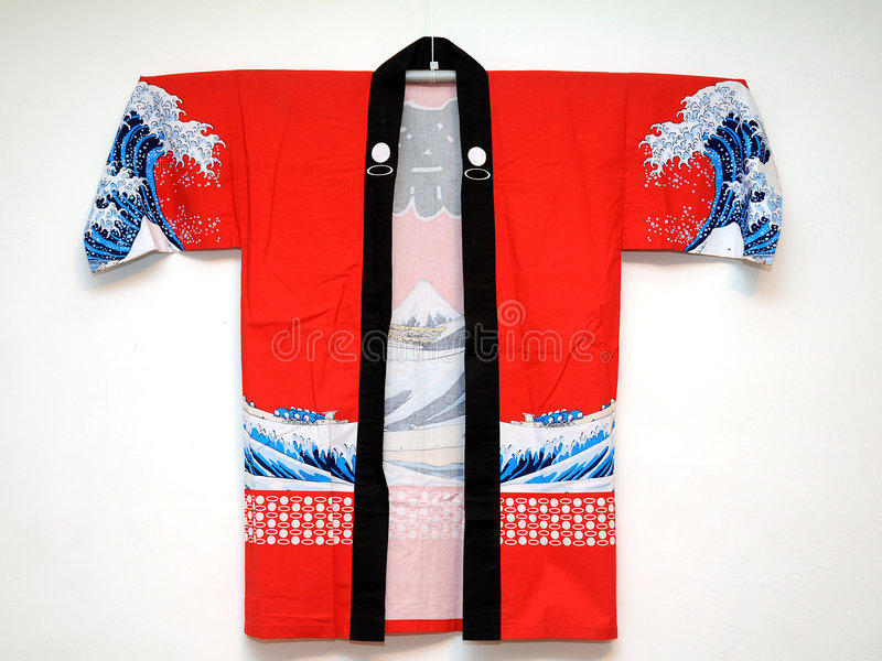Japanese dress. Japanese traditional dress on white background stock photos