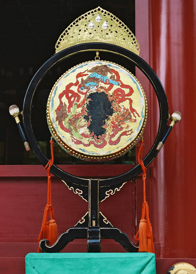 Japanese drum in temple in Kamakura. royalty free stock photography