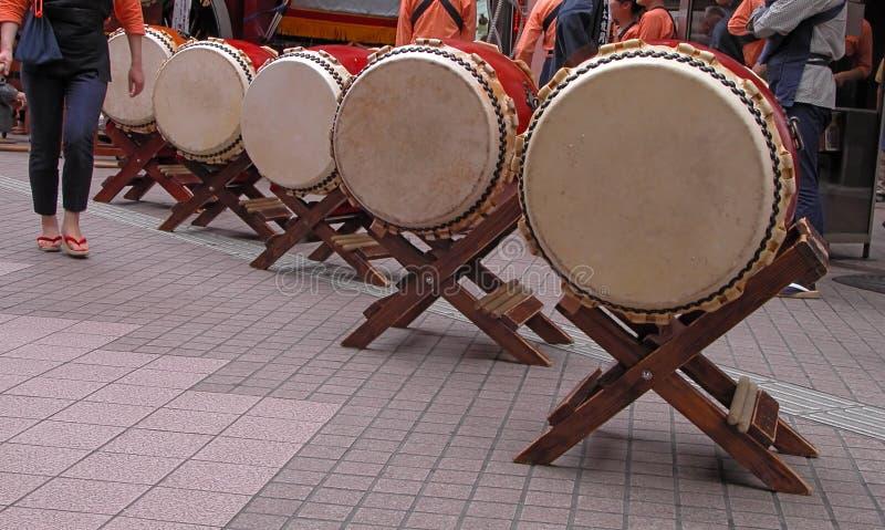 Japanese drums arrangement stock images