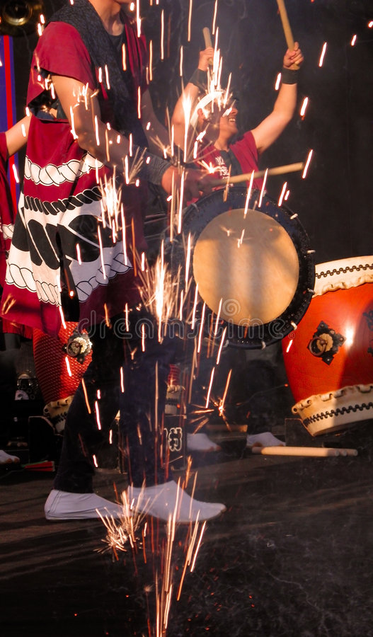 Japanese drums show royalty free stock photo