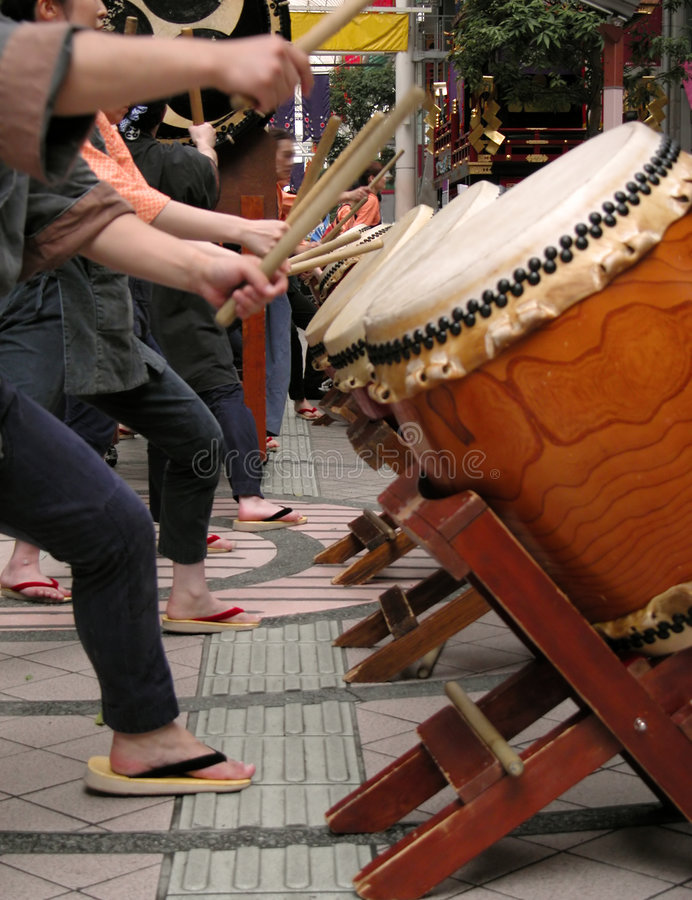 Japanese drums show-action detail royalty free stock photo