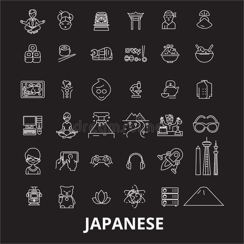 Japanese editable line icons vector set on black background. Japanese white outline illustrations, signs, symbols stock illustration